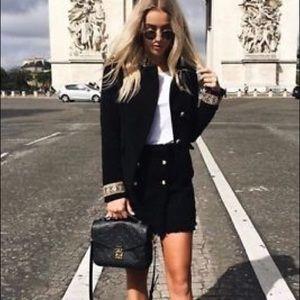 NEW Zara Black Velvet Passementerie Jacket Coat XS